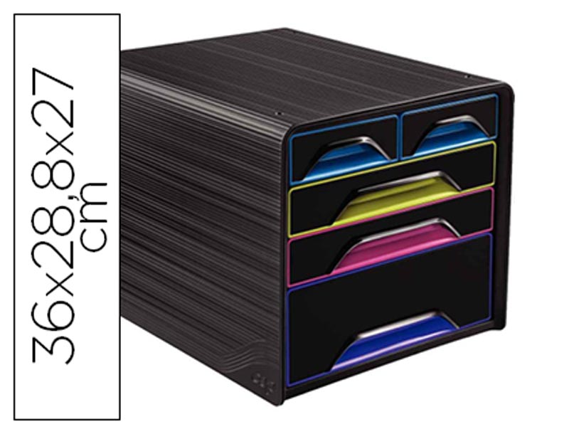 Bloco 5 gavetas mistas Cep Preto/Multicolor